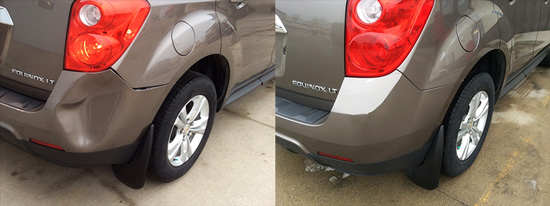 bumper repair, before and after